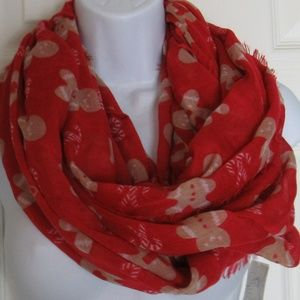 Accessories - Gingerbread Man Infinity Scarf Red/Brown